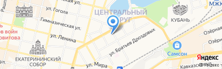 Перекрёсток на карте Краснодара