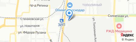 Абрис на карте Краснодара