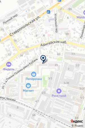 Продовольственный магазин на Линейной на карте Краснодара