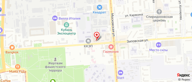 Карта расположения пункта доставки Краснодар Зиповская в городе Краснодар