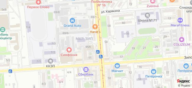 Краснодар, Московская, 65Б - общественный транспорт, остановки