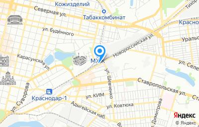 Местоположение на карте пункта техосмотра по адресу г Краснодар, ул Новороссийская, д 5