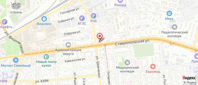 Карта расположения пункта доставки DPD Pickup в городе Краснодар