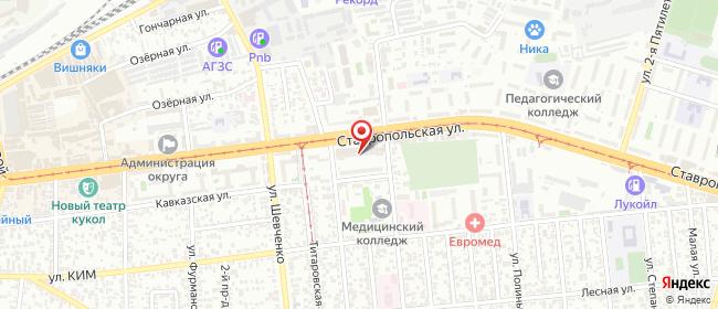 Карта расположения пункта доставки Краснодар Ставропольская в городе Краснодар