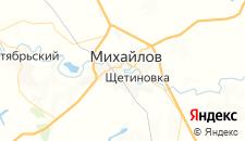 Гостиницы города Михаилов на карте