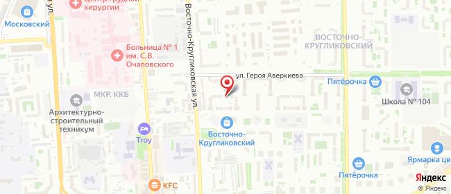 Карта расположения пункта доставки Краснодар Восточно-Кругликовская в городе Краснодар
