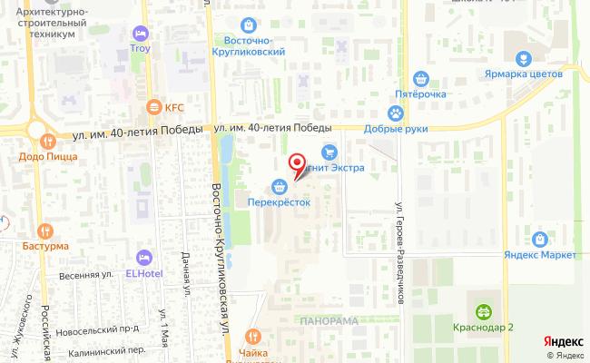 Карта расположения пункта доставки Пункт выдачи в городе Краснодар