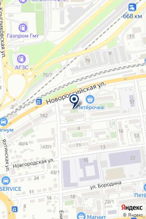 Продовольственный магазин на Новороссийской на карте Краснодара