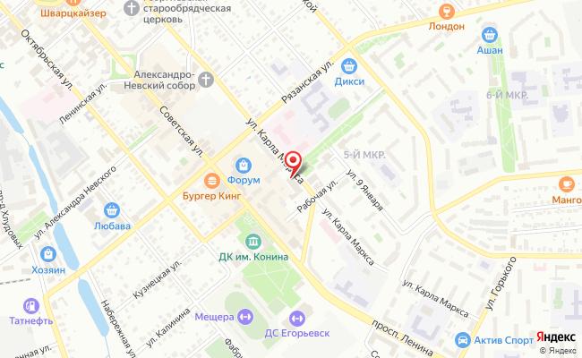 Карта расположения пункта доставки Ростелеком в городе Егорьевск