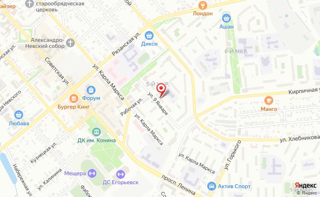 Карта расположения пункта доставки Пункт выдачи в городе Егорьевск