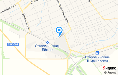 Местоположение на карте пункта техосмотра по адресу Краснодарский край, ст-ца Староминская, ул Привокзальная