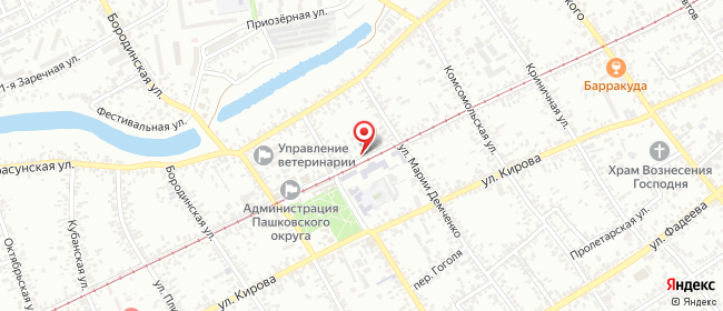 Карта расположения пункта доставки Краснодар Евдокии Бершанской в городе Краснодар
