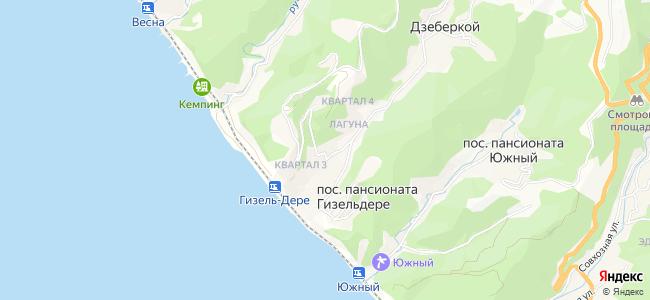 Пансионаты Гизель-Дере - объекты на карте