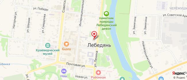Карта расположения пункта доставки Ростелеком в городе Лебедянь