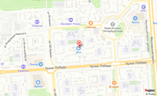 Карта расположения пункта доставки Upoint36 в городе Воронеж