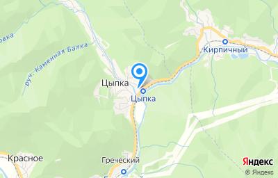 Местоположение на карте пункта техосмотра по адресу Краснодарский край, Туапсинский р-н, с Цыпка, ул Заречная, д 11