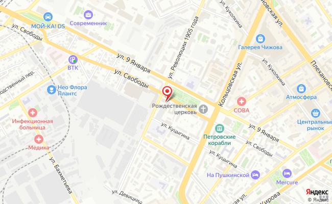 Карта расположения пункта доставки DPD Pickup в городе Воронеж