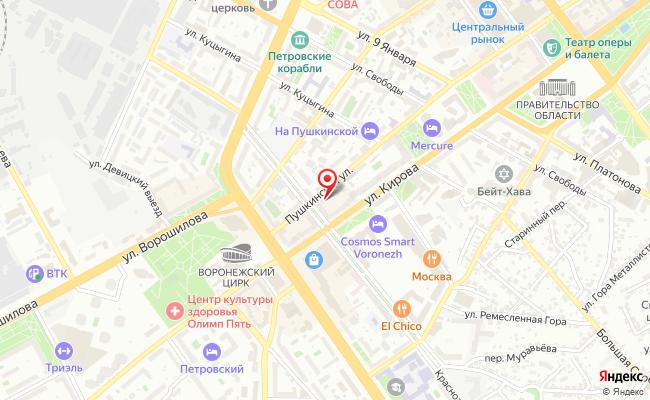 Карта расположения пункта доставки Lamoda/Pick-up в городе Воронеж