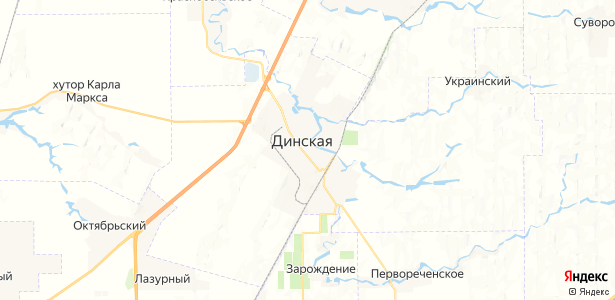 Динская на карте