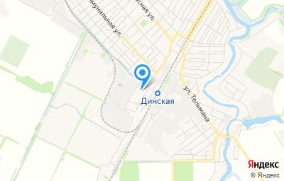 Местоположение на карте пункта техосмотра по адресу Краснодарский край, ст-ца Динская, ул Краснодарская, д 9, пом 1