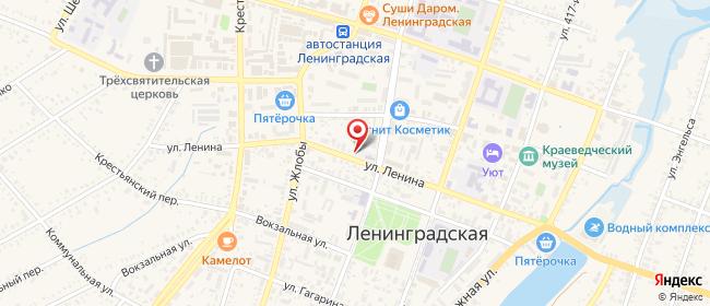 Карта расположения пункта доставки Ростелеком в городе Ленинградская