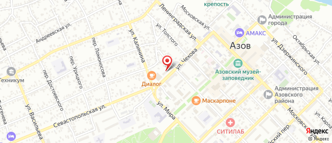Карта расположения пункта доставки СИТИЛИНК в городе Азов