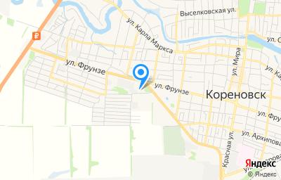 Местоположение на карте пункта техосмотра по адресу Краснодарский край, г Кореновск, ул Фрунзе, д 180Б