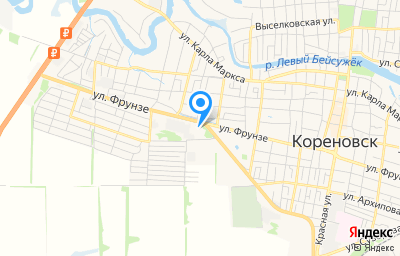 Местоположение на карте пункта техосмотра по адресу Краснодарский край, г Кореновск, ул Фрунзе, д 182Б