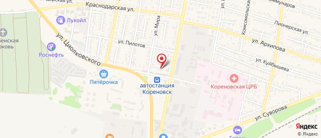 Карта расположения пункта доставки Билайн в городе Кореновск