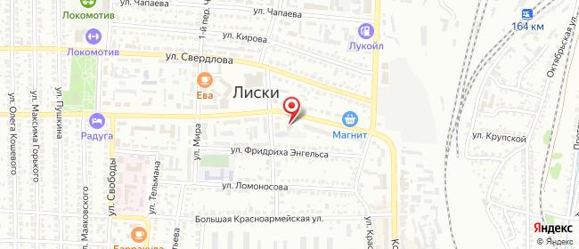 Карта расположения пункта доставки Ростелеком в городе Лиски