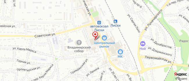 Карта расположения пункта доставки Лиски Коммунистическая в городе Лиски