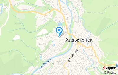 Местоположение на карте пункта техосмотра по адресу Краснодарский край, Апшеронский р-н, г Хадыженск, ул Джабадари, д 4А