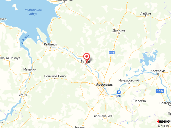 Тутаев на карте