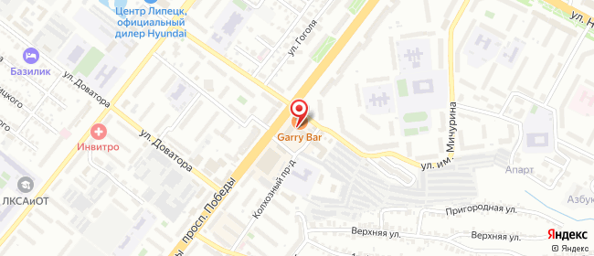Карта расположения пункта доставки Липецк Победы в городе Липецк