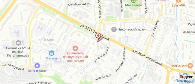 Карта расположения пункта доставки Липецк Неделина в городе Липецк