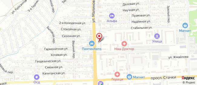 Карта расположения пункта доставки Ростов-на-Дону Малиновского в городе Ростов-на-Дону