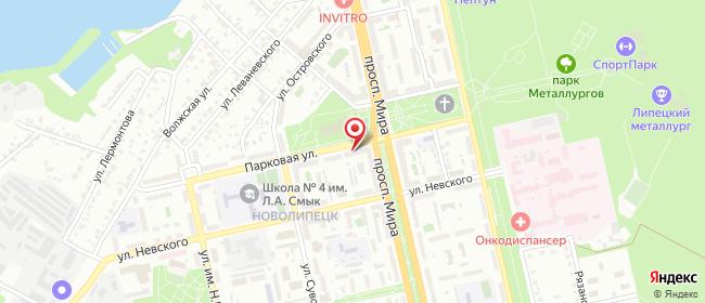 Карта расположения пункта доставки Липецк Парковая в городе Липецк