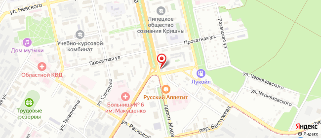 Карта расположения пункта доставки Билайн в городе Липецк