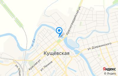 Местоположение на карте пункта техосмотра по адресу Краснодарский край, ст-ца Кущевская, ул Красная, д 2