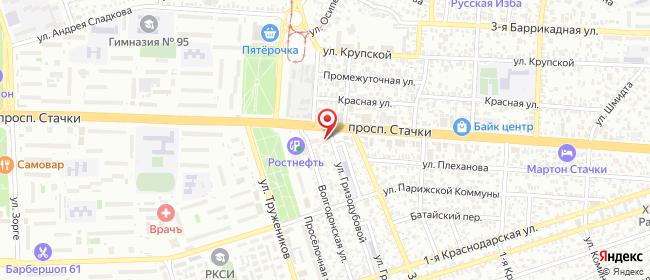 Карта расположения пункта доставки На пл. Тружеников в городе Ростов-на-Дону