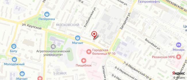 Карта расположения пункта доставки Рязань Крупской в городе Рязань