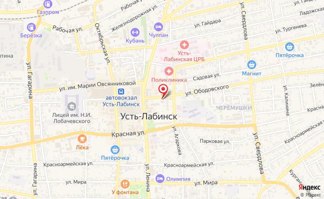 Карта расположения пункта доставки Усть-Лабинск Ободовского в городе Усть-Лабинск
