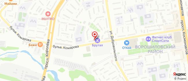 Карта расположения пункта доставки На Комарова в городе Ростов-на-Дону
