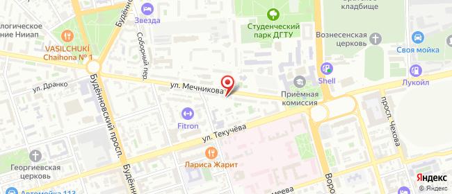 Карта расположения пункта доставки На Мечникова в городе Ростов-на-Дону