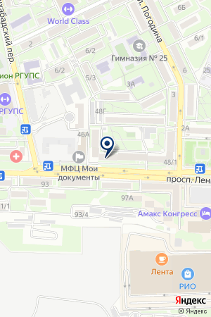 Супермаркет на ул. Ленина на карте Ростова-на-Дону