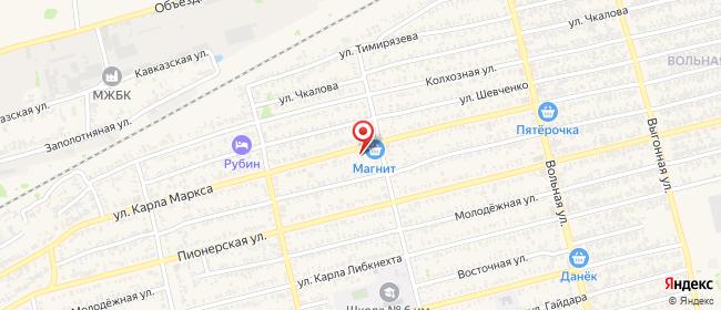 Карта расположения пункта доставки Билайн в городе Лабинск
