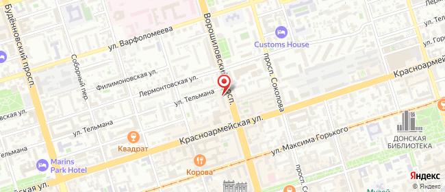 Карта расположения пункта доставки Пункт выдачи в городе Ростов-на-Дону