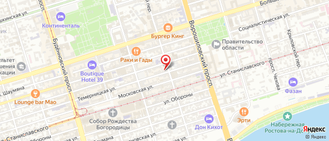 Карта расположения пункта доставки Темерницкая в городе Ростов-на-Дону