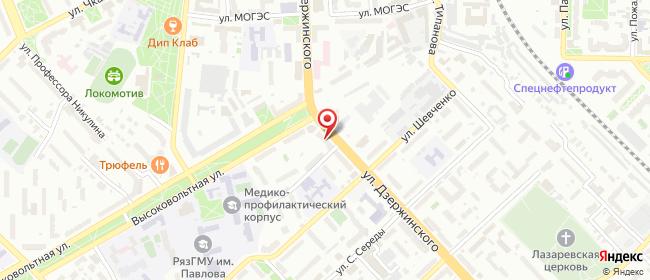 Карта расположения пункта доставки Рязань Дзержинского в городе Рязань