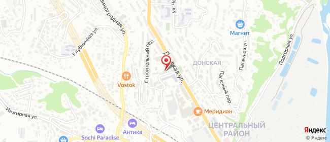 Карта расположения пункта доставки Донская в городе Сочи